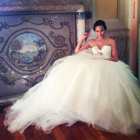 Chrissy Teigen Vera Wang strapless wedding dress
