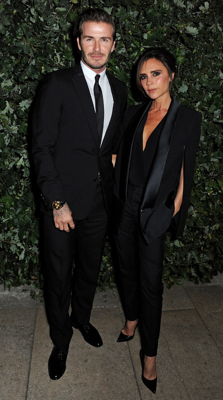 David & Victoria Beckham step out in London in matching suits
