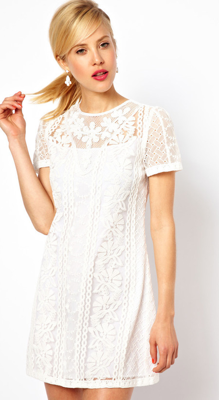 ASOS PETITE Exclusive Embroidered Beaded Mini Shift Dress