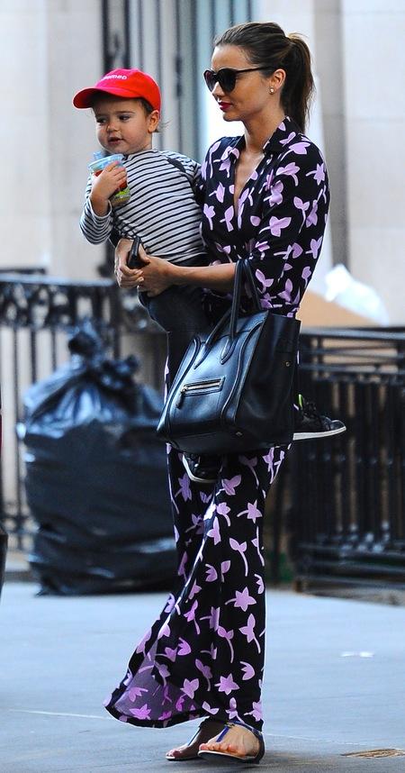 Miranda Kerr steps out with son Flynn in floral Diane Von Furstenburg