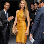 MFW SS14: Blake Lively glows in gold at Gucci