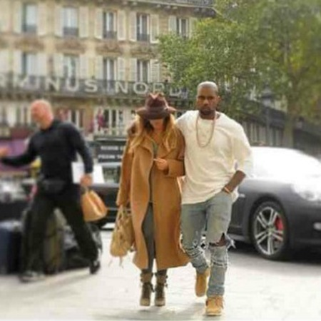 Kim and Kanye wear tan and denim