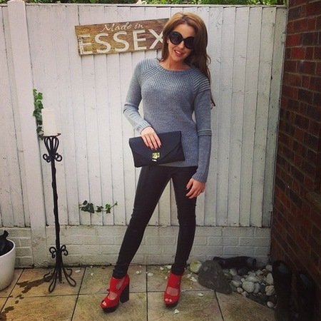 Lydia Bright wearing Kelly Brook for New Look leather trousers