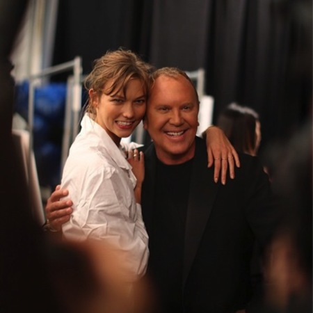 Michael Kors backstage with Karlie Kloss NYFW