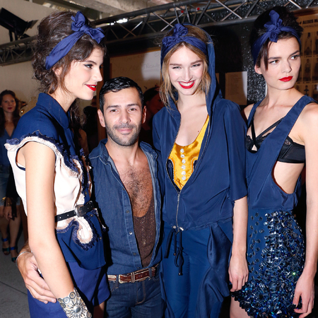 Models backstage at Alexis MAbille PFW SS14, Headscarves, beehives and red lips, denim