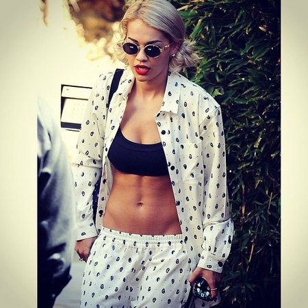 Rita Ora flat stomach and toned abs