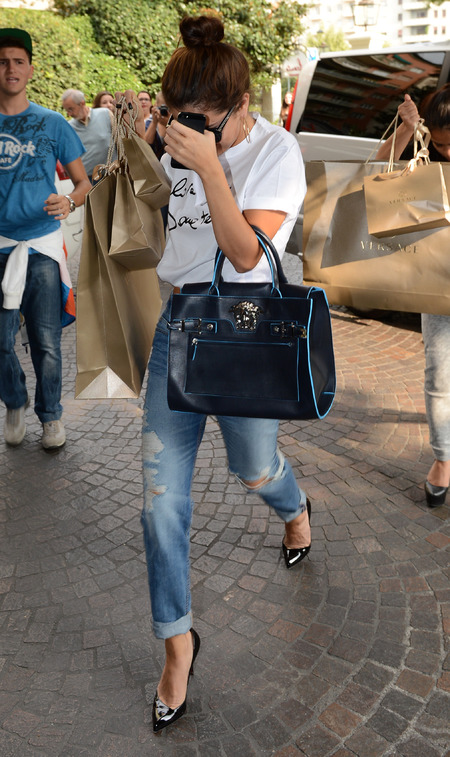 Selena Gomez carries new SS14 Versace Palazzo handbag in Milan