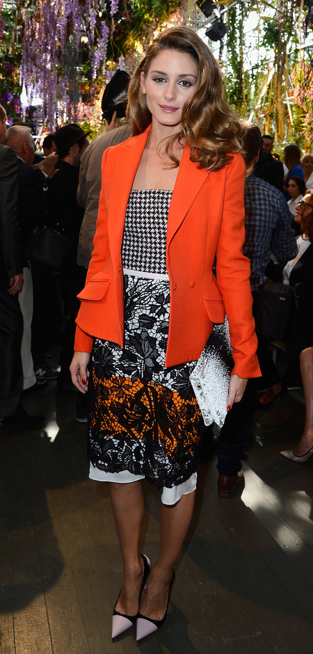 Olivia Palermo mixes orange, checks and floral prints