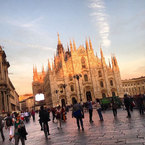Cara Delevingne visits Milan Cathedral at sunset