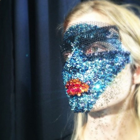 Crystal and sequin masks at Givenchy PFW SS14