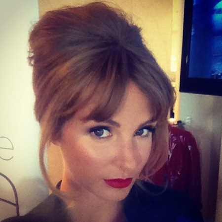 Millie Mackintosh sixties style beehive hair, fringe, red lipstick