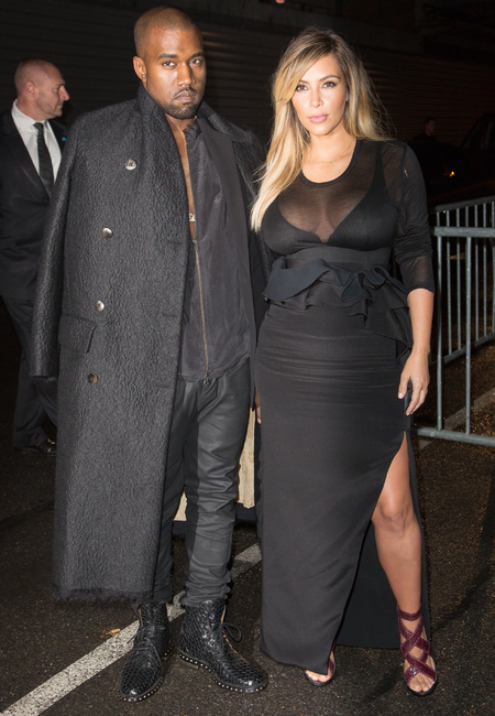 Kim Kardashian and Kanye West at PFW SS14 Givenchy show