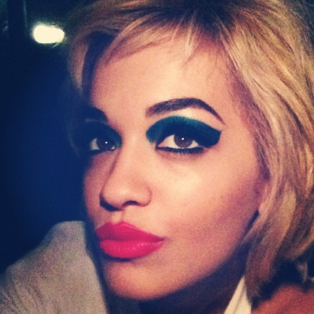 Rita Ora's bold blue eye makeup
