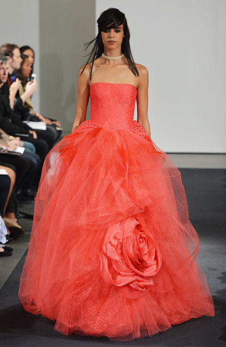 vera wang - pink coloured wedding dress - autumn 2013 - bridal trends - handbag.com