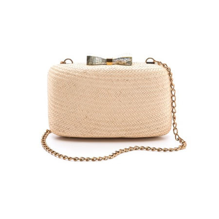 Kayu straw and shell box clutch bag