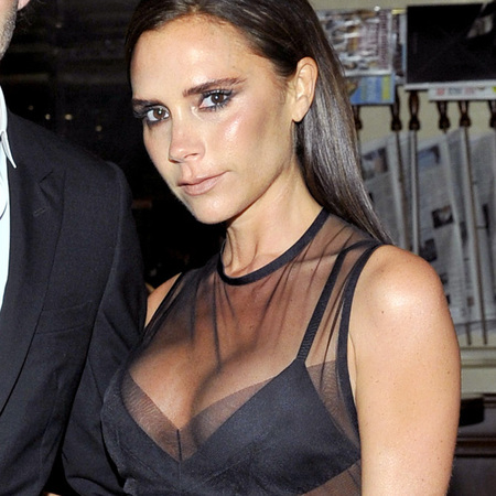 victoria beckham david beckham - sheer black dress - vogue fashion fund - handbag.com