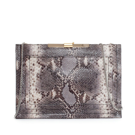 Zara snakeskin grey clutch bag