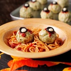 Oozing eyeballs with spaghetti worms recipe