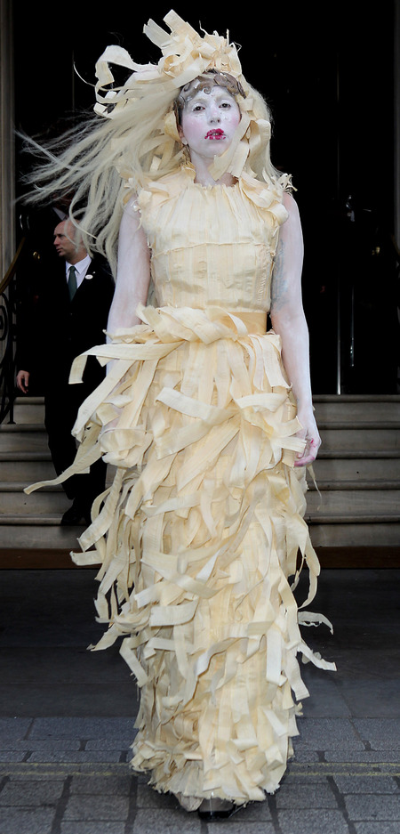 lady gaga - venus promo tour - crazy makeup and paper dress - handbag.com