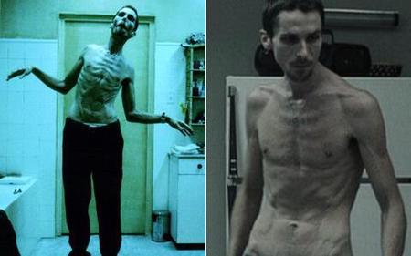 Christian Bale The Machinist - skinny frame - weight loss - handbag