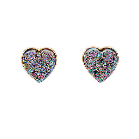 New Look Gold and Purple Agate Heart Stud Earrings
