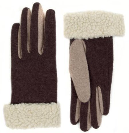 Wool Rich Faux Fur Gloves with Angora