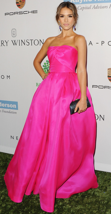 jessica alba - hot pink fuschia dress - celebrity trend 2013 - handbag.com