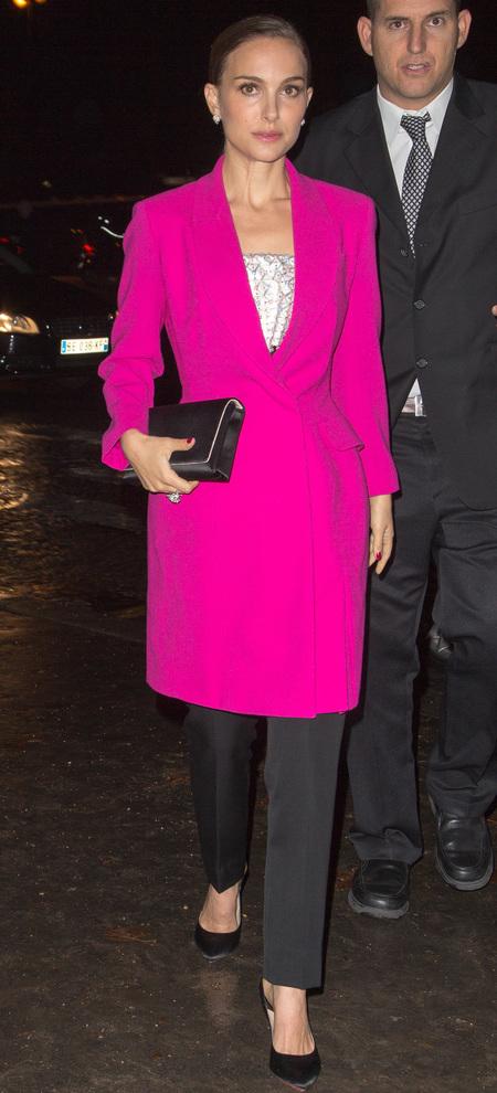 natalie portman - hot pink fuchsia coat - celebrity trend - 2013 - handbag.com