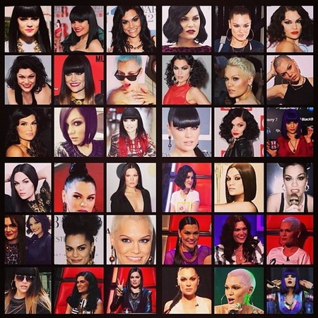jessie j new hair - blonde to black hair - jessie j hairstyles and hair cuts montage - handbag.com