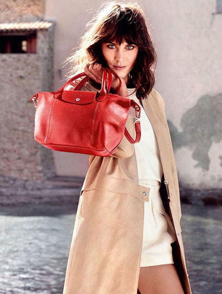 alexa chung new face of longchamp - longchamp handbags - Veau Foulonne Shoulder Bag red - handbag.com