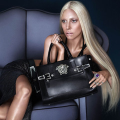 lady gaga versace campaign - new versace black leather handbag - Spring/Summer 2014 - handbag.com
