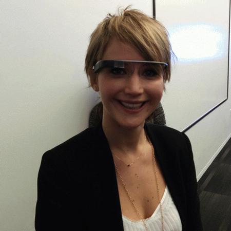 Jennifer Lawrence wearing Google Glass - handbag.com