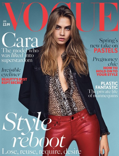 Cara Delevingne Vogue January 2014 cover - British model - second Vogue cover - model of the year - celebrity fashion news - handbag.com