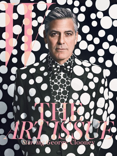 George Clooney W Magazine cover - art issue - guyliner-  spots suit - fashion and beauty news - celebrity - handbag.com