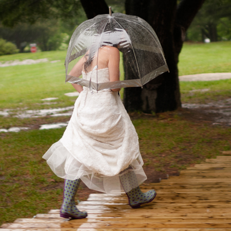 A bride caught in the rain - weddings- handbag.com