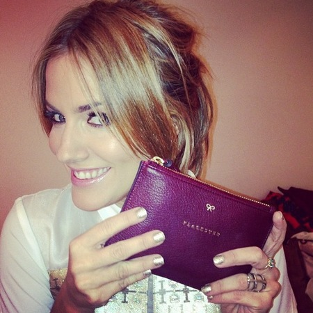 caroline flack anya hindmarch clutch bag - name monogram on handbag - caroline flack handbah - handbag.com