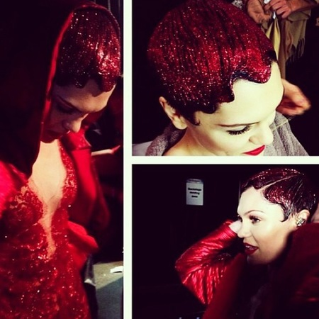 jessie j red glitter hair - jingle bell ball - christmas party hair ideas - handbag.com