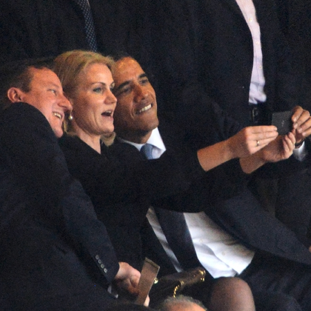 President Obama and David Cameron funeral selfie - Nelson Mandela memorial - photos - news - handbag.com