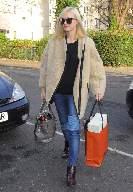 Fearne Cotton - h and m sheepkin coat - fuffy coat trend - handbag.com