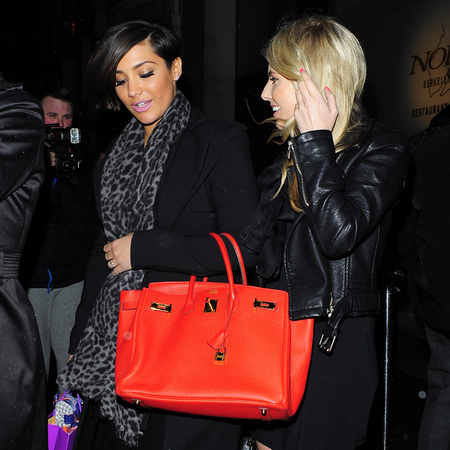 Frankie Sandford - red birkin bag - handbag - london sightings - nobu - handbag.com