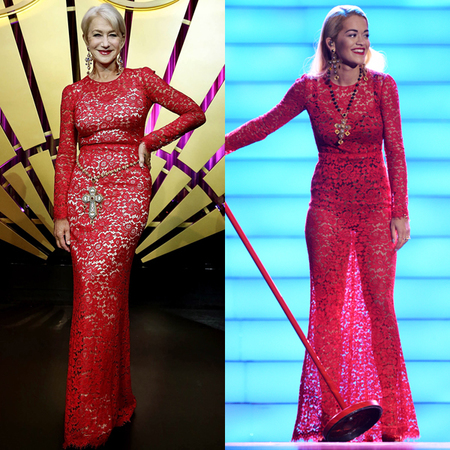 helen mirren and rita ora in same red lace dress - dolce and gabbana dress - celebrity same dresses - handbag.com