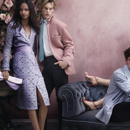 malaika firth and jaimie campbell - burberry ss14 ad campaign - purple lace trench coat - handbag.com