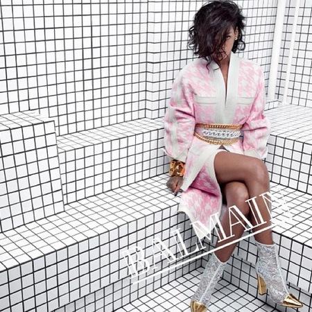 rihanna for balmain - spring summer 2014 ad campaign - rihanna designer style - pink coat dress kimono - handbag.com