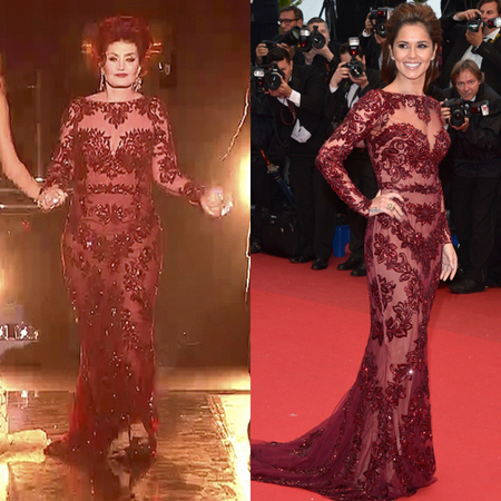 sharon osbourne and cheryl cole in same red dress - x factor 2013 final - celebrity same dresses - handbag.com