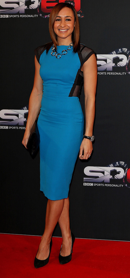 jessica ennis - blue victoria beckham dress - 2013 sports personality of the year - handbag.com