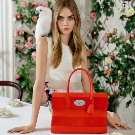 cara delevingne mulberry ss14 campaign - bayswater orange and red fiery stripe handbag - handbag.com