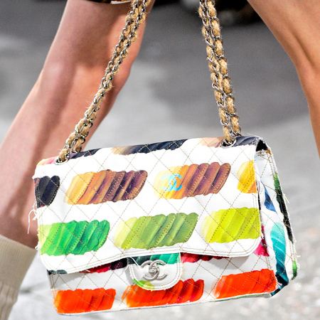 Chanel rainbow coloured large classic flap bag ss14 - best designer handbags spring summer 2014 - chanel multicoloured iconic handbag - handbag.com