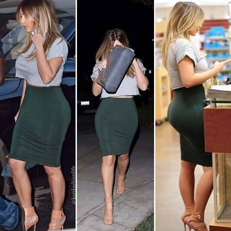 kim kardashian green pencil skirt and grey tshirt - celebrity fashion trend - handbag.co