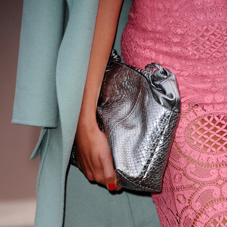 Paloma Faith - burberry - silver metallic handbag accessories - lcm - spring trends - close up bag - handbag.com