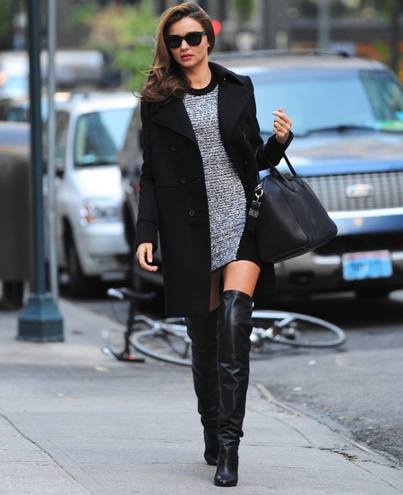 Miranda Kerr - heeled knee high boots - new york sighting - boots tribe - celebrity - handbag.com